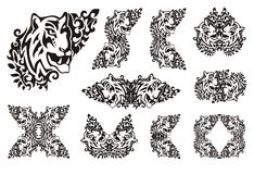 Tiger flame set in tribal style Stock Images