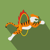 Tiger in flaming hoop illustration Stock Images