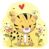 Tiger with flowers and butterflies Royalty Free Stock Image