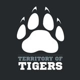 Tiger footprint on dark background - vector Stock Images