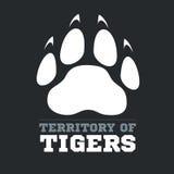 Tiger footprint on dark background - vector Stock Images