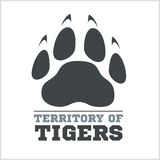 Tiger footprint and fire on light background. For tshirt - vector illustration Royalty Free Stock Images