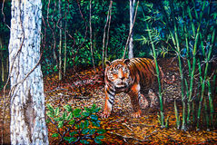 Tiger in the forest of oil painting Stock Photography