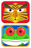 Tiger and Frog Masks. Colorful tiger and frog masks for children stock illustration