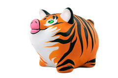 Tiger fur. The skin of a tiger, is drawn on a Piggy Bank Royalty Free Stock Photos