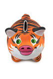 Tiger fur. The skin of tiger, is drawn on Piggy Bank Stock Image