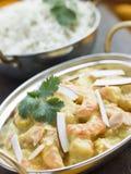 Tiger-Garnele-Korma-Gaststätte-Art mit Reis Lizenzfreies Stockbild