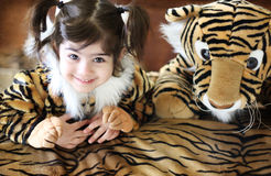 Tiger Girl. A toddler dressed as a tiger for halloween Royalty Free Stock Image