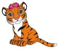 Tiger Girl Sit Stock Image