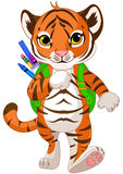 Tiger Go to School. Illustration of little tiger goes to school Stock Images