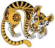 Tiger in gold style. Illustration of a tiger in decorative style. Various components are grouped separately vector illustration