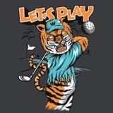 Tiger Golf Mascot Shirt Design Stockbilder