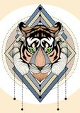 Tiger graphic illustration multicolored t-shirt design and tattoo Royalty Free Stock Image