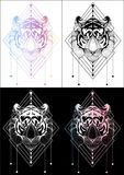 Tiger graphic illustration t-shirt design and tattoo 4 color Stock Photo