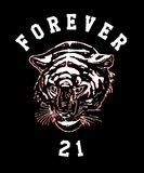 Tiger grunge aesthetic t shirt illustration. Typography slogan vector for t shirt printing. Graphic tee and Printed tee. Forever 21 Stock Photos