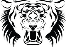 Tiger head. Black symbol of a tiger head Stock Images