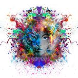 Tiger head on abstract background Stock Photo