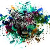 Tiger head on abstract background. Illustration of tiger head on abstract background Stock Image