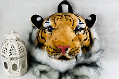 Tiger head bag isolated. White background Royalty Free Stock Photography