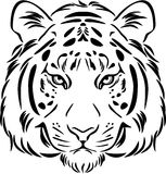 Tiger head. Black and white outline Royalty Free Stock Photos