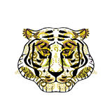 Tiger head decorated with Indian ornament. Vector portrait Stock Photography