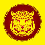 Tiger head. Designed on grunge circle graphic vector Royalty Free Stock Photo