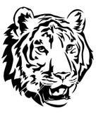 Tiger. Head emblem design - big cat black and white vector outline vector illustration