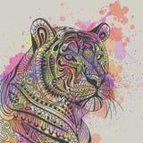 Tiger Head ethnique ornemental Photographie stock libre de droits