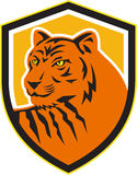 Tiger Head Front Crest Retro illustration de vecteur