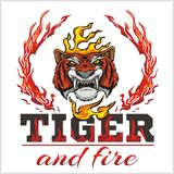 Tiger head hand and fire - vector illustration Royalty Free Stock Image
