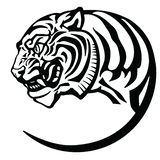 Tiger head black and white tattoo stock illustration