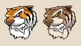 Tiger Head Mascot Illustration Vector nello stile del fumetto immagini stock