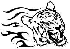 Tiger Head met Vlammen Stock Afbeelding