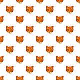 Tiger head pattern, cartoon style. Tiger head pattern. Cartoon illustration of tiger head vector pattern for web Royalty Free Stock Image