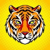 Tiger head pop art style vector illustration. Tiger head pop art retro vector illustration. Comic book style imitation Stock Image