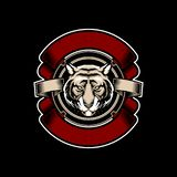 Tiger head with ribbon vector emblem vintage logo style template stock illustration