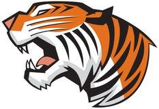 Tiger Head Roaring Side View vektordiagram Fotografering för Bildbyråer