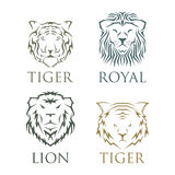 Tiger head royal badge with beautiful animal vector hand drawn lion face illustration. Stock Photography
