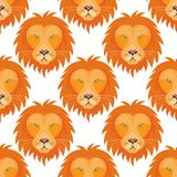 Tiger head royal seamless pattern background with beautiful animal vector hand drawn lion face illustration. Tiger head seamless pattern background with Stock Photography