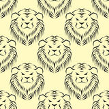 Tiger head royal seamless pattern with beautiful animal vector hand drawn lion face illustration. Royalty Free Stock Images