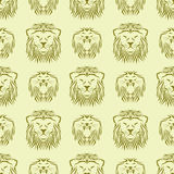 Tiger head royal seamless pattern with beautiful animal vector hand drawn lion face illustration. Royalty Free Stock Photography