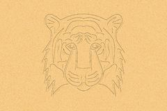 Tiger Head in the Sand. It is an outline illustration with light brown sand in the background. It is a digital art illustration Stock Photography