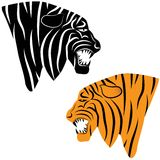 Tiger head silhouette, Vector Royalty Free Stock Images