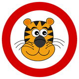 Tiger head smiling in road sign Royalty Free Stock Photo