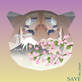 Tiger head with snowy top of the mountain and cherry branch. concept illustration on theme of protection of nature and animals. Concept illustration on theme of royalty free illustration
