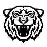 Tiger head tattoo. Black and white tiger head tattoo. Stylized vector illustration Stock Photo
