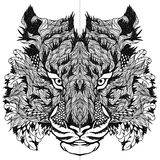 TIGER head tattoo. psychedelic. Vector illustration of tiger head. isolated on white background Royalty Free Stock Images