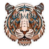 Tiger head zentangle stylized, vector, illustration, pattern, fr Royalty Free Stock Photography