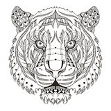 Tiger head zentangle stylized, vector, illustration, pattern, fr. Eehand pencil, hand drawn. Zen art. Lace. Print for t-shirts and covers for mobile phones Royalty Free Stock Image