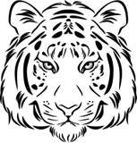 Tiger Head Zwart-wit overzicht Royalty-vrije Stock Foto's